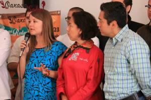 Chefs participantes de Oaxaca Sabe en rueda de prensa.